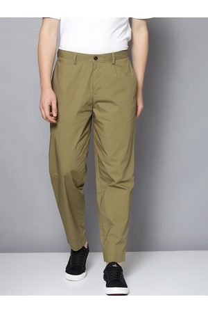 Ben Sherman Men Olive Green Tapered Fit Solid Cotton Chinos