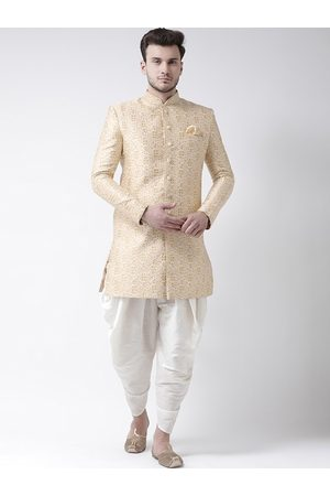 DEYANN Men Cream-Colored & Off- White Printed Dupion Silk Sherwani Set