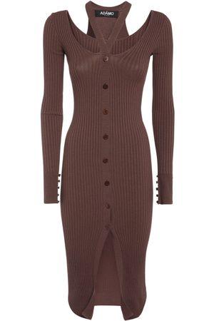 ANDREA ADAMO Double Layer Viscose Blend Midi Dress