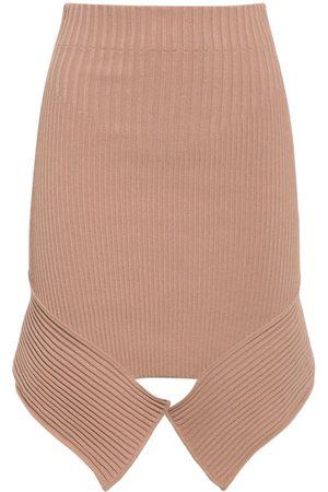 ANDREA ADAMO Asymmetric Viscose Blend Knit Midi Skirt