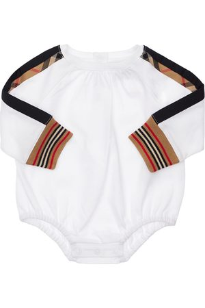 Burberry Cotton Bodysuit W/ Check Inserts