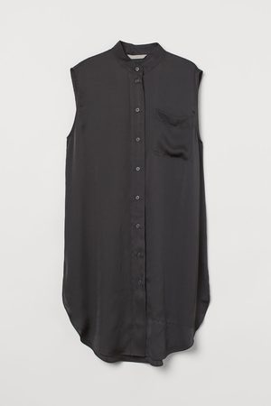 H&M Women Tunics - Oversized satin tunic - Grey