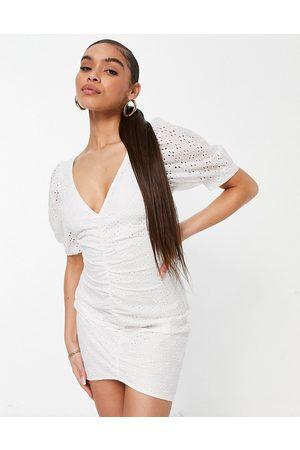 Saint Genies Women Summer Dresses - Ruched broderie mini dress in
