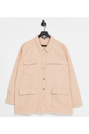 Missguided Longline denim shacket with fray edge in peach