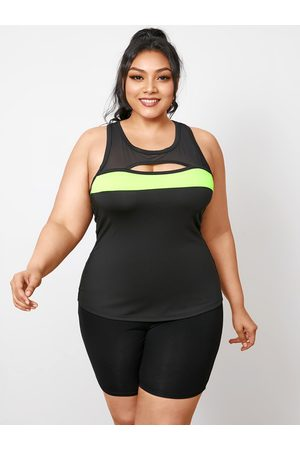 YOINS Plus Size Round Neck Mesh Patchwork Cut Out Sleeveless Tank Top
