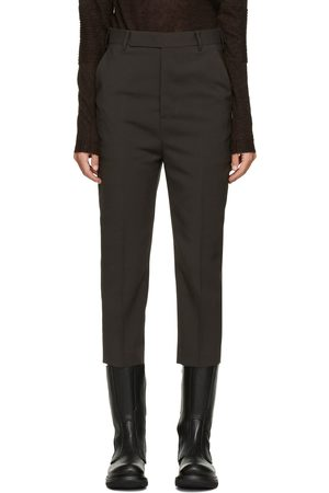 Women Formal Trousers - Rick Owens Brown Wool Cropped Astaire Trouser