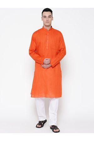 SG LEMAN Men Orange & White Self Design Kurti with Pyjamas