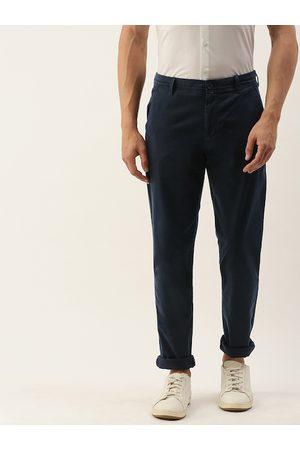 Calvin Klein Men Navy Blue Slim Fit Solid Chinos