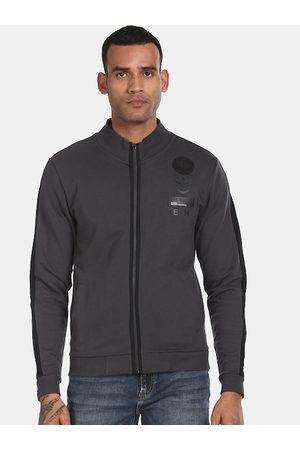 ED HARDY Men Charcoal Grey Solid Sweatshirt