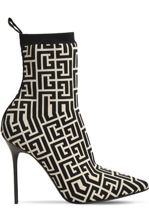 Balmain 110mm Skye Monogram Knit Sock Boots