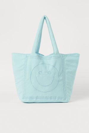 H&M Women Tote Bags - Embroidered shopper - Turquoise