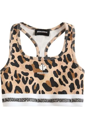 Dsquared2 Leopard Print Stretch Cotton Jersey Top
