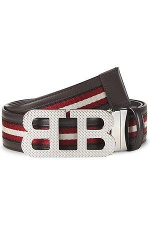 Bally Men Belts - Mirror BB Stripe Leather Textile Belt