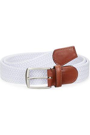 Saks Fifth Avenue COLLECTION Leather-Trim Woven Cotton Belt