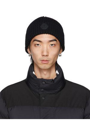 Men Beanies - Moncler Wool Rib Knit Rubber Logo Beanie