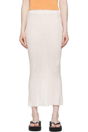 Calle Del Mar Off-White Ribbed Skirt