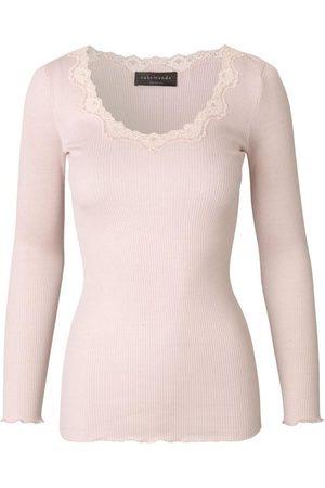 Rosemunde Silk top long sleeve w Lace Soft Rose