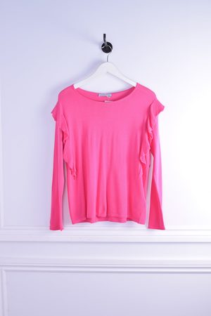 REPEAT cashmere Women Long Sleeve - Frill Trim Long Sleeve Knit
