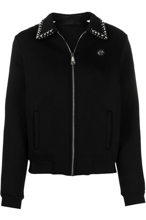 Philipp Plein Women Bomber Jackets - Logo zipped bomber jacket