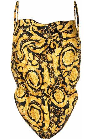 VERSACE Women Bodies - Barocco-print silk bodysuit