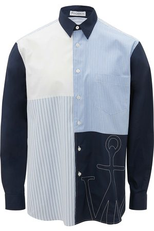 J.W.Anderson Men Long Sleeve - Embroidered logo patchwork shirt