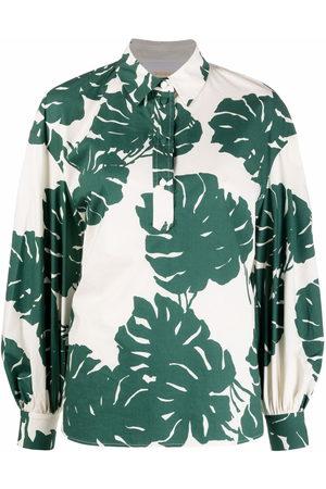 La DoubleJ Poet leaf-print cotton shirt