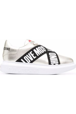 Love Moschino Logo tape lace-up sneakers