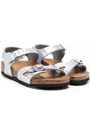 Birkenstock Rio metallic-effect sandals