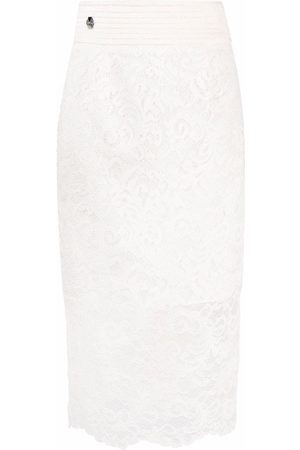 Philipp Plein Women Printed Skirts - Lace-patterned pencil skirt