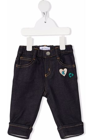 Emporio Armani Embroidered patch slim-fit jeans