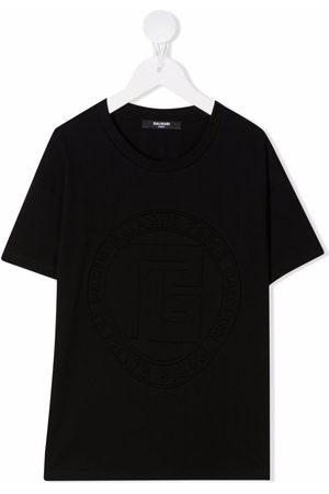Balmain Boys Short Sleeve - Embossed logo T-shirt