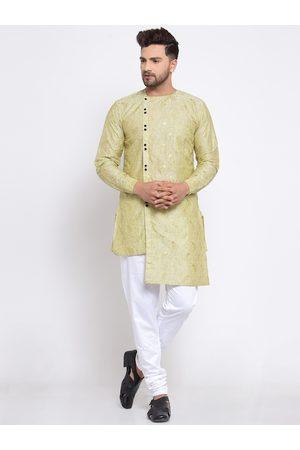 KLOTTHE Men Green Ethnic Motifs Woven Design Straight Kurta & Pyjamas