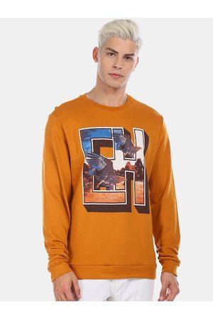 ED HARDY Men Mustard Yellow & Blue Printed Cotton Sweatshirt
