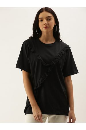 DILLINGER Women Black Solid Round Neck Oversized T-shirt With Ruffle Detail
