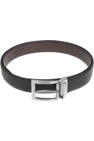 amicraft Men Black & Brown Leather Reversible Textured Belt ACNINJ