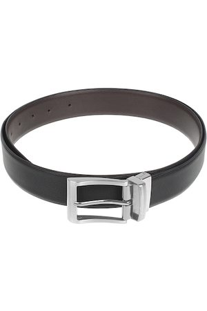 amicraft Men Black & Brown Leather Reversible Textured Belt ACMBOX