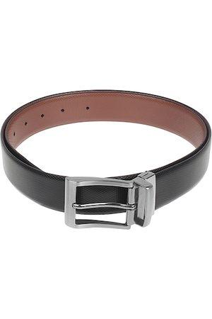 amicraft Men Belts - Men Black & Brown Leather Reversible Textured Belt ACHNY