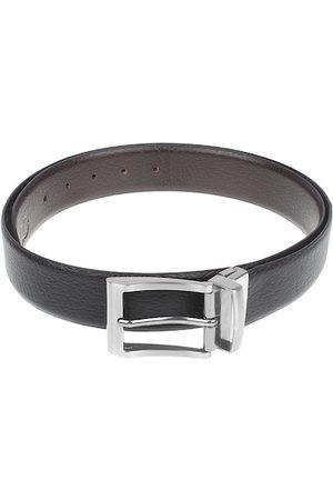 amicraft Men Black & Brown Leather Reversible Textured Belt ACSHRI