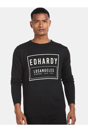 ED HARDY Men Jumpers - Men Black Printed Cotton Pullover Sweater