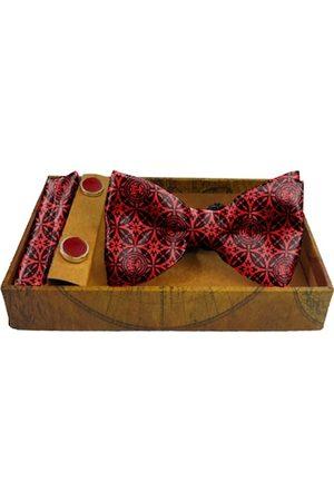 Blacksmith Men Red & Black Japanese Star Printed Pure Satin Accessory Gift Set