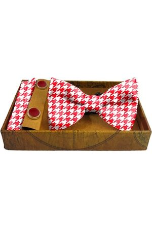 Blacksmith Men Bow Ties - Men Red & White Houndstooth Printed Satin Accessory Gift Set