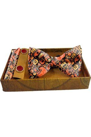 Blacksmith Men Neckties - Men Yellow & Black Printed 100% Satin Accessory Gift Set