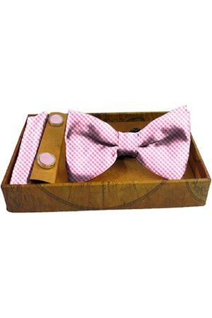 Blacksmith Men Bow Ties - Men Pink & White Gingham Checked Satin Accessory Gift Set