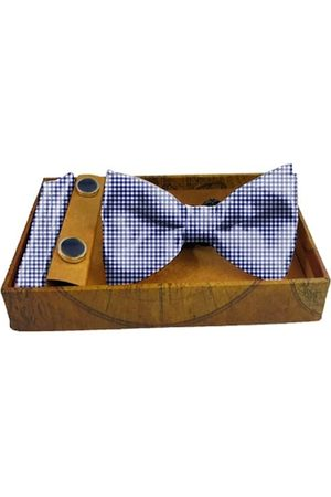 Blacksmith Men Blue & White Checked Pure Satin Accessory Gift Set