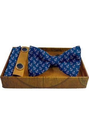 Blacksmith Men Neckties - Men Blue & White Printed Satin Accessory Gift Set