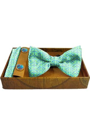Blacksmith Men Turquoise Blue & Lime Green Dots Printed Satin Accessory Gift Set