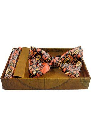 Blacksmith Men Bow Ties - Men Black & Orange Cracky Pumpinks Printed Satin Accessory Gift Set