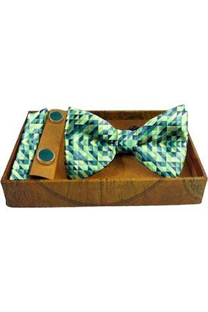 Blacksmith Men Neckties - Men Blue & Yellow Printed Pure Satin Accessory Gift Set