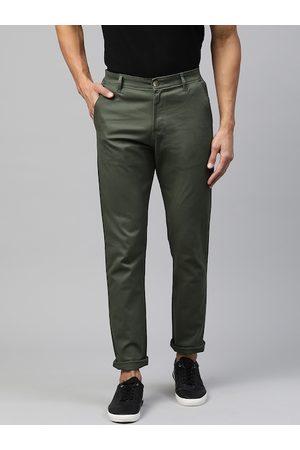 Hubberholme Men Green Slim Fit Solid Chinos
