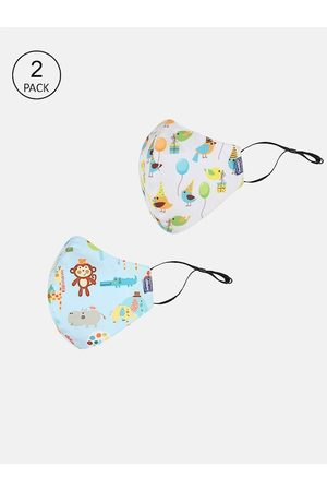 chicco Pack Of 2 Kids Green & Yellow Printed 6-Ply Reusable Protective Outdoor Mask